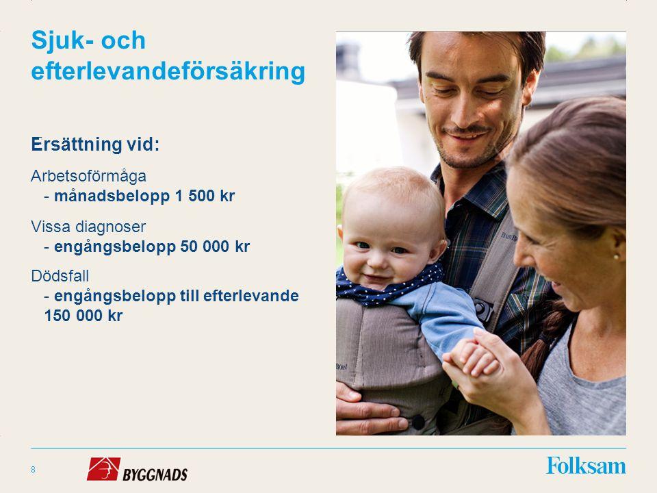 Innehållsyta Rubrikyta Sjuk- och efterlevandeförsäkring Ersättning vid: Arbetsoförmåga - månadsbelopp 1 500 kr Vissa diagnoser - engångsbelopp 50 000 kr Dödsfall - engångsbelopp till efterlevande 150 000 kr 8 :