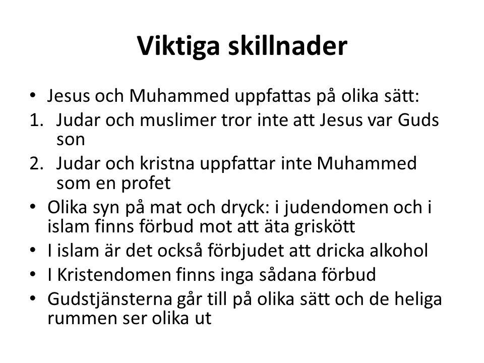 Viktiga skillnader Jesus och Muhammed uppfattas på olika sätt: 1.Judar och muslimer tror inte att Jesus var Guds son 2.Judar och kristna uppfattar int