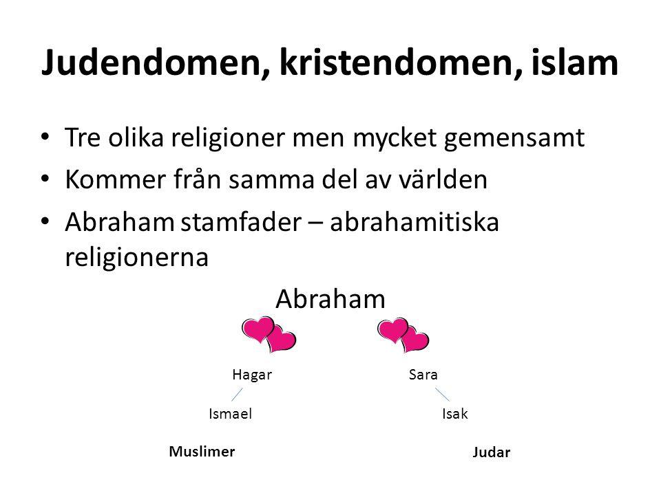 Judendomen, kristendomen, islam Tre olika religioner men mycket gemensamt Kommer från samma del av världen Abraham stamfader – abrahamitiska religionerna Abraham Hagar Sara IsmaelIsak Muslimer Judar