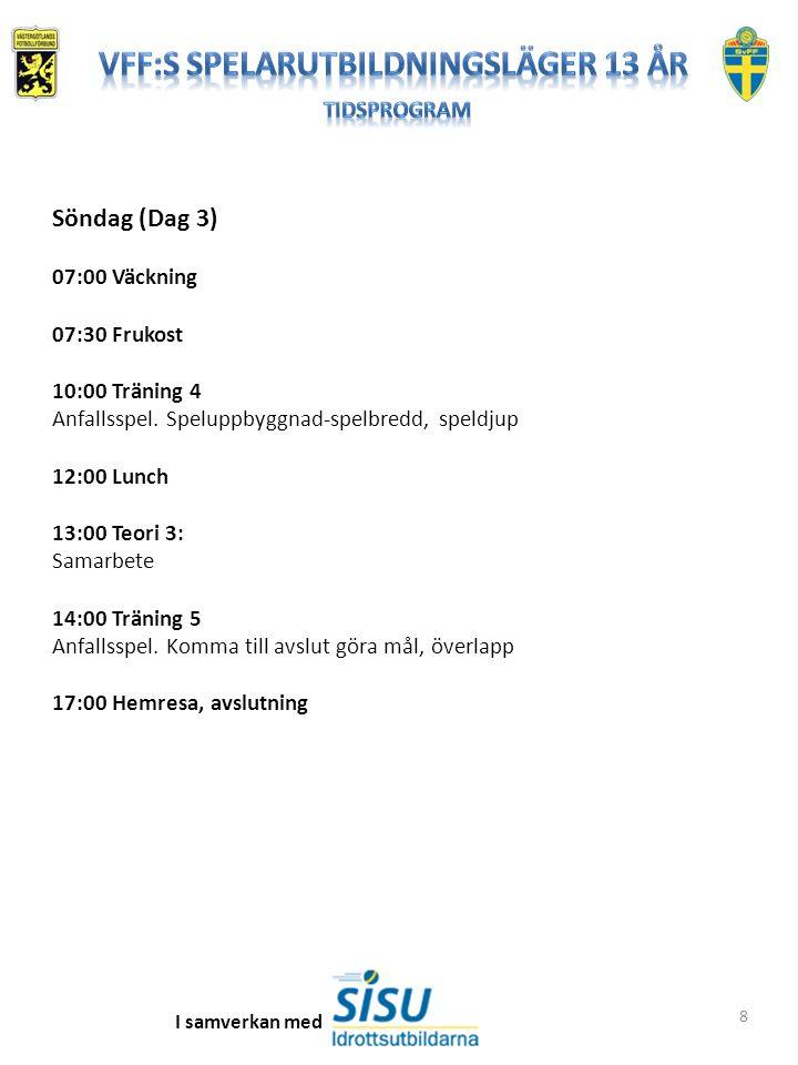 8 Söndag (Dag 3) 07:00 Väckning 07:30 Frukost 10:00 Träning 4 Anfallsspel. Speluppbyggnad-spelbredd, speldjup 12:00 Lunch 13:00 Teori 3: Samarbete 14: