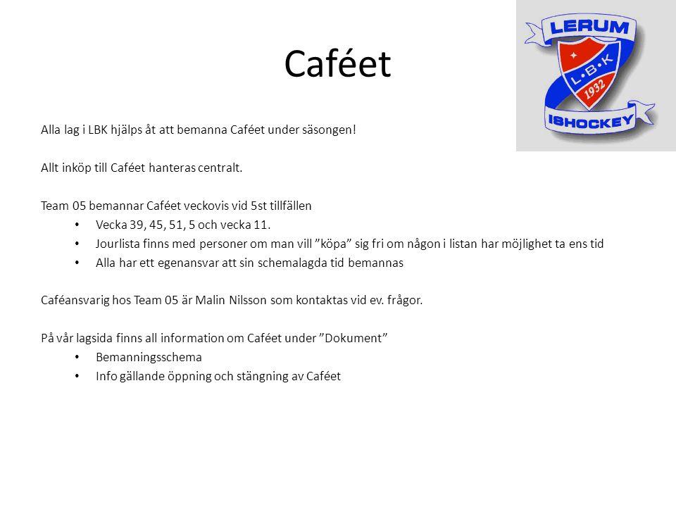 Caféet Alla lag i LBK hjälps åt att bemanna Caféet under säsongen.