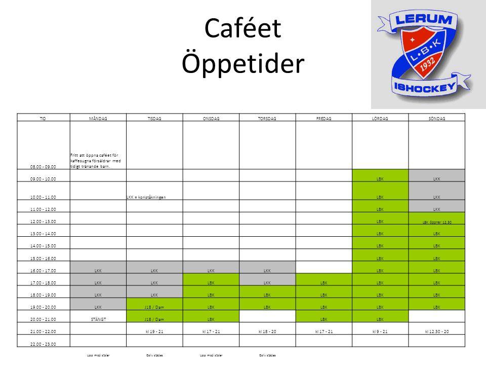 Caféet Öppetider TIDMÅNDAGTISDAGONSDAGTORSDAGFREDAGLÖRDAGSÖNDAG 08.00 - 09.00 Fritt att öppna caféet för kaffesugna försäldrar med tidigt tränande barn.