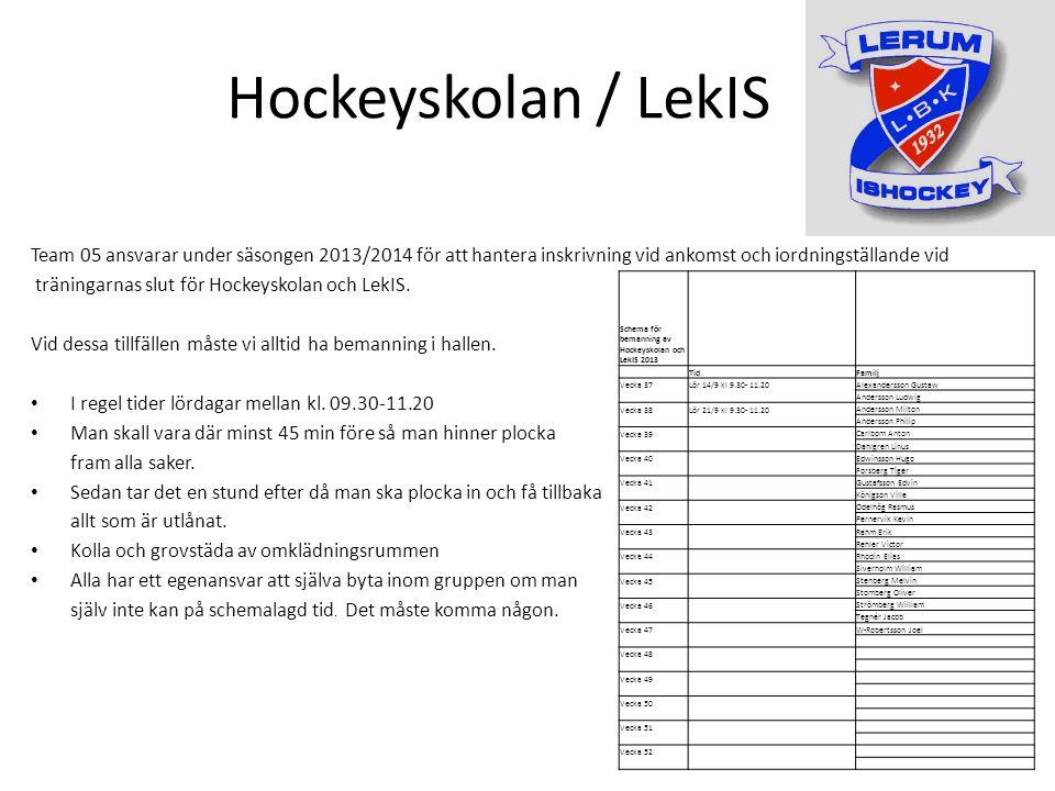 Hockeyskolan / LekIS Team 05 ansvarar under säsongen 2013/2014 för att hantera inskrivning vid ankomst och iordningställande vid träningarnas slut för Hockeyskolan och LekIS.