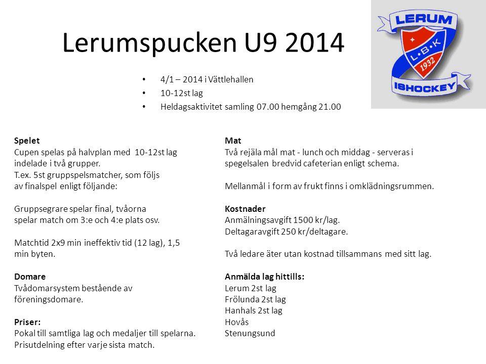 Lerumspucken U9 2014 Spelet Cupen spelas på halvplan med 10-12st lag indelade i två grupper.