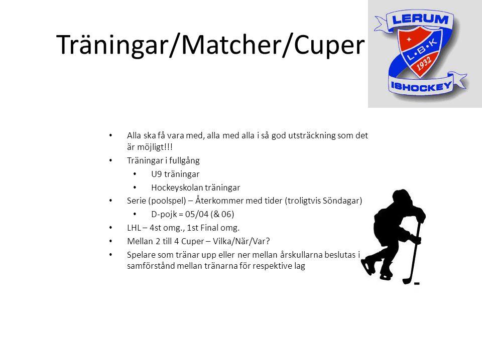 Träningar/Matcher/Cuper Alla ska få vara med, alla med alla i så god utsträckning som det är möjligt!!.