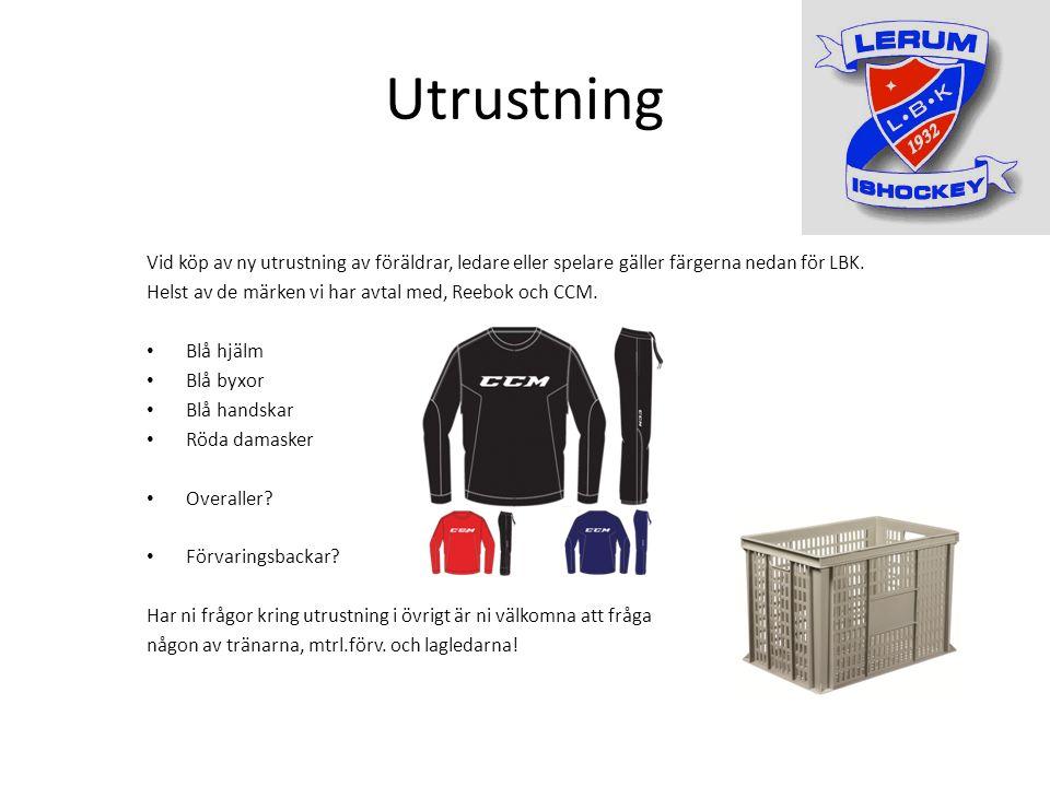 Utrustning Vid köp av ny utrustning av föräldrar, ledare eller spelare gäller färgerna nedan för LBK.