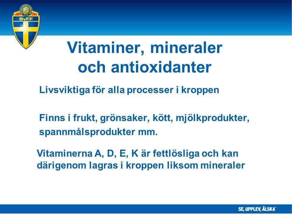 Vitaminer, mineraler och antioxidanter Livsviktiga för alla processer i kroppen Finns i frukt, grönsaker, kött, mjölkprodukter, spannmålsprodukter mm.