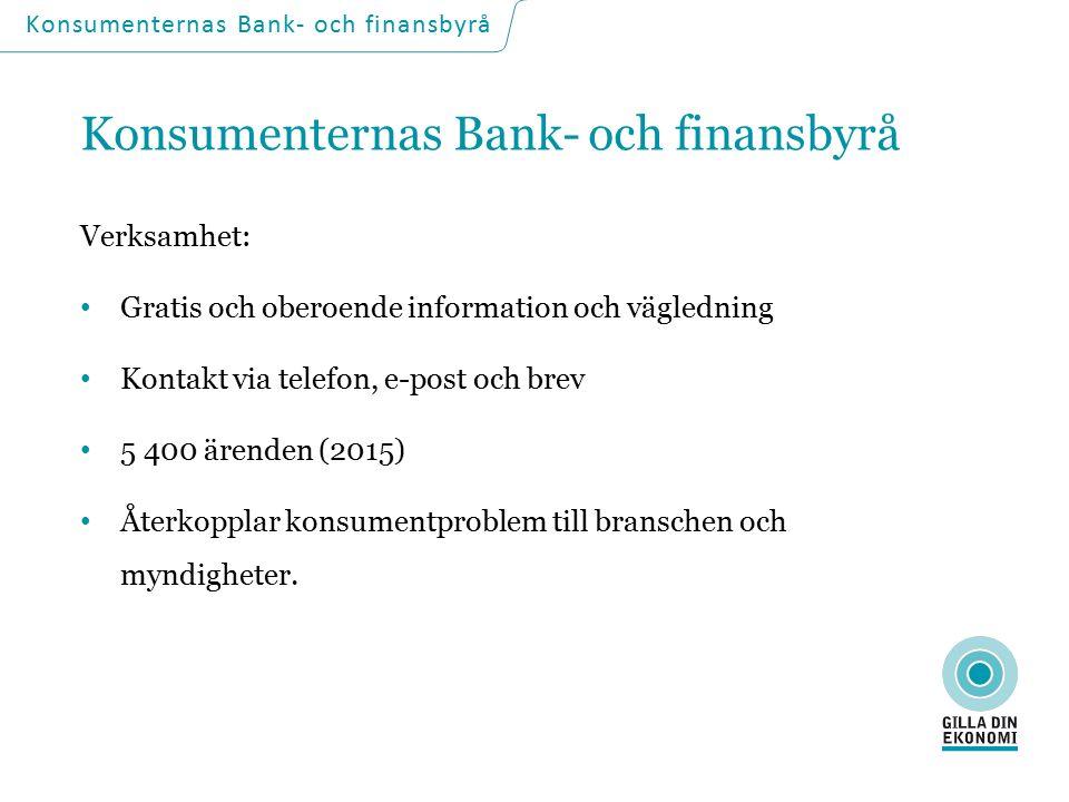 Huvudmän: Finansinspektionen Konsumentverket Svenska Bankföreningen Fondbolagens Förening Svenska Fondhandlareföreningen Konsumenternas Bank- och finansbyrå