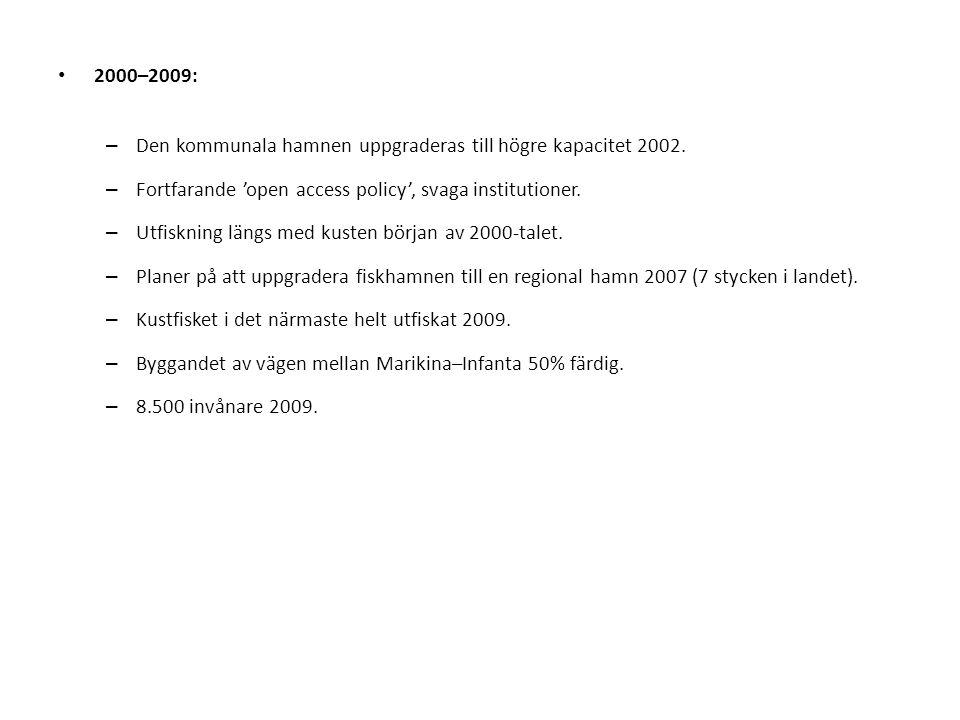 2000–2009: – Den kommunala hamnen uppgraderas till högre kapacitet 2002. – Fortfarande 'open access policy', svaga institutioner. – Utfiskning längs m