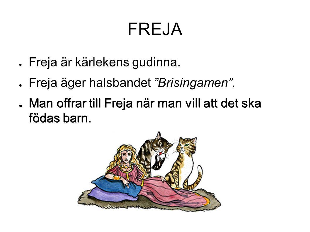 """FREJA ● Freja är kärlekens gudinna. ● Freja äger halsbandet """"Brisingamen"""". ● Man offrar till Freja när man vill att det ska födas barn."""