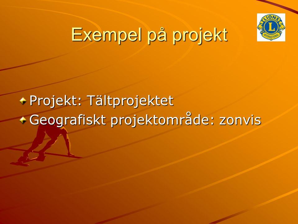 Exempel på projekt Projekt: Tältprojektet Geografiskt projektområde: zonvis