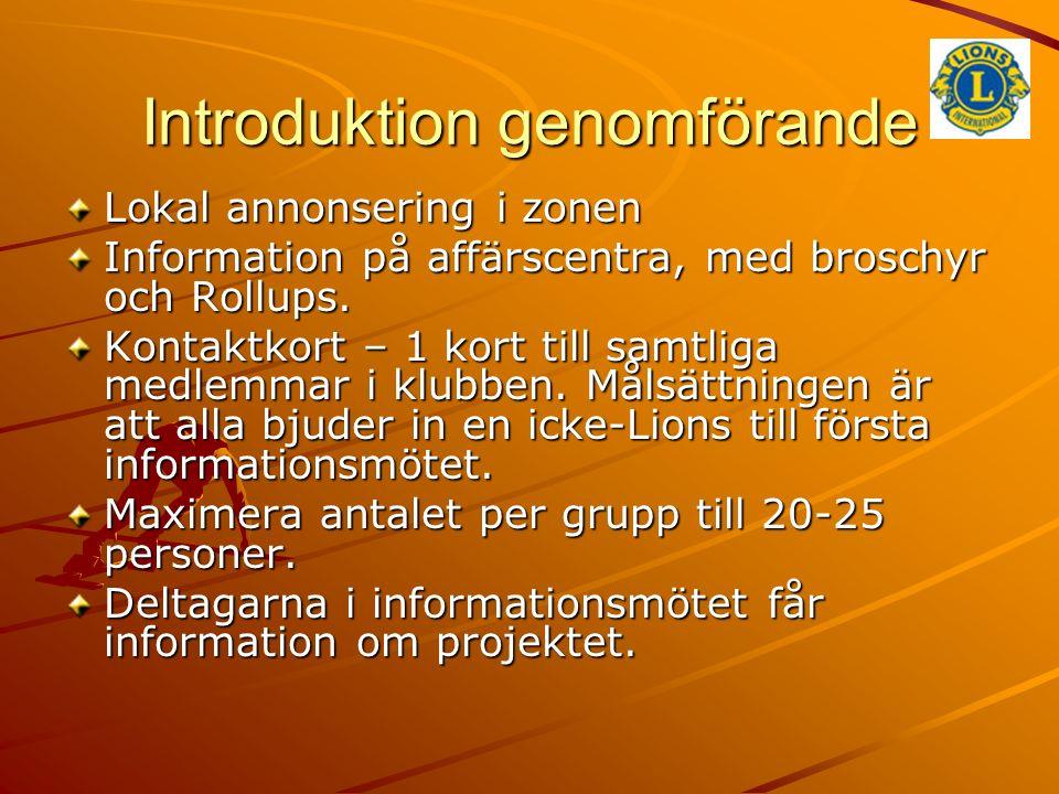 Introduktion genomförande Lokal annonsering i zonen Information på affärscentra, med broschyr och Rollups.