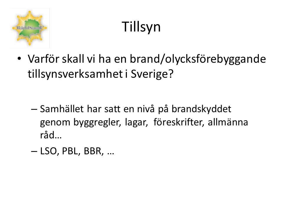 Tillsyn Varför skall vi ha en brand/olycksförebyggande tillsynsverksamhet i Sverige.