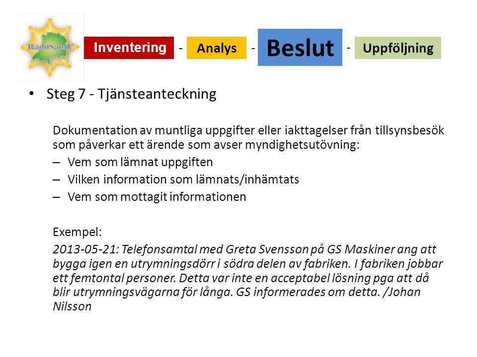 Steg 7 - Tjänsteanteckning Dokumentation av muntliga uppgifter eller iakttagelser från tillsynsbesök som påverkar ett ärende som avser myndighetsutövning: – Vem som lämnat uppgiften – Vilken information som lämnats/inhämtats – Vem som mottagit informationen Exempel: 2013-05-21: Telefonsamtal med Greta Svensson på GS Maskiner ang att bygga igen en utrymningsdörr i södra delen av fabriken.