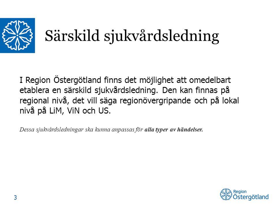 I Region Östergötland finns det möjlighet att omedelbart etablera en särskild sjukvårdsledning. Den kan finnas på regional nivå, det vill säga regionö