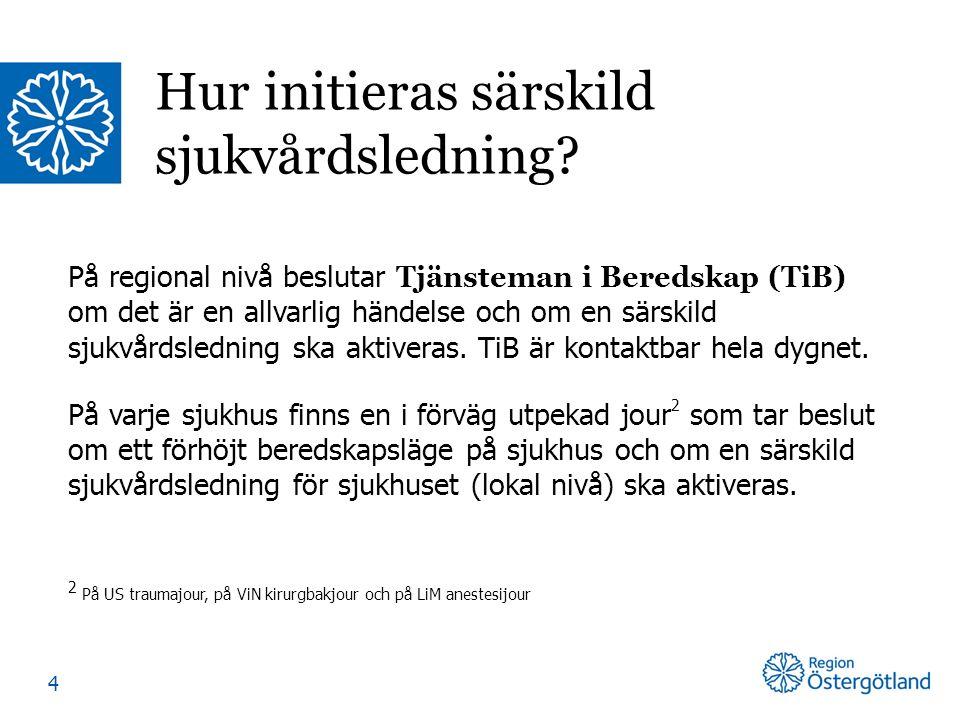 På regional nivå beslutar Tjänsteman i Beredskap (TiB) om det är en allvarlig händelse och om en särskild sjukvårdsledning ska aktiveras. TiB är konta