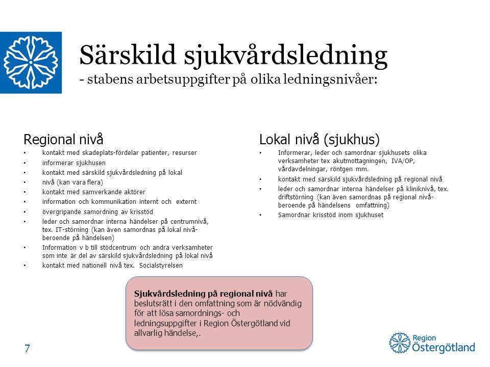 Regional nivå kontakt med skadeplats-fördelar patienter, resurser informerar sjukhusen kontakt med särskild sjukvårdsledning på lokal nivå (kan vara f