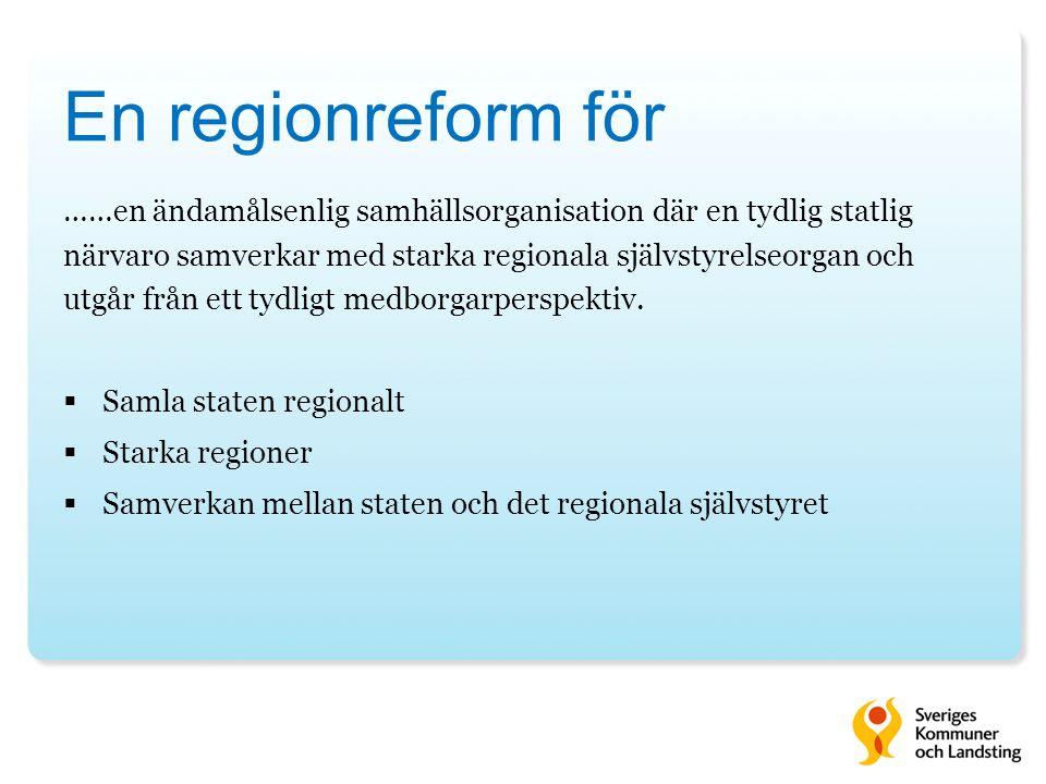 Det svenska välfärdssystemet bygger på decentralisering Idag är det 3 stora landsting/regioner, som täcker mer än halva befolkningen och 18 mindre landsting, som täcker resten av landet.