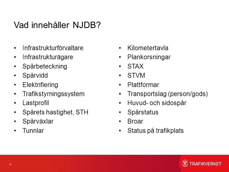 6 Nyttor med NJDB Gemensamma termer för nationella järnvägsdata En sammanhållen bild över hela det svenska järnvägsnätet Underlättar planering och genomförande av intermodala transporter från dörr till dörr Tydliggör angränsande infrastrukturförvaltare Förenklar planering, uppföljning och analyser