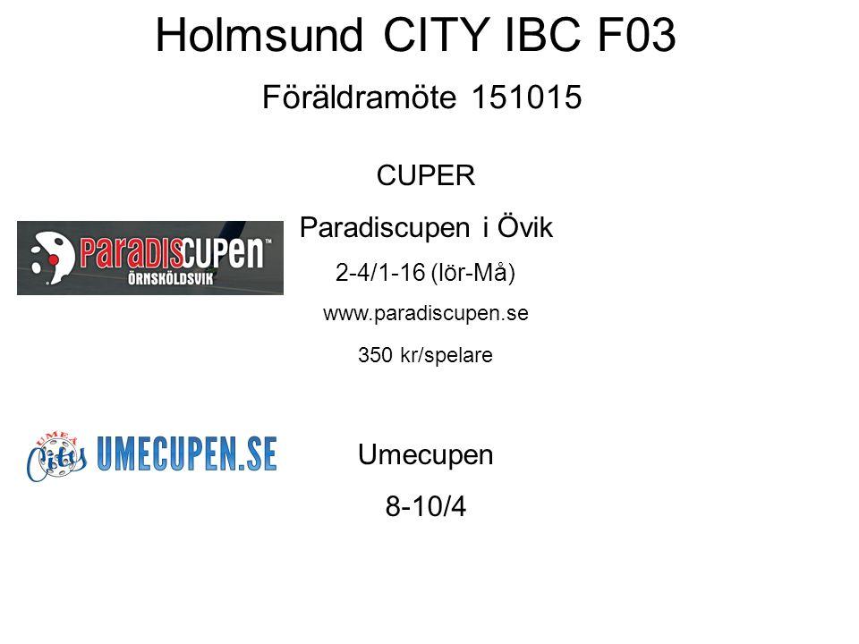 Holmsund CITY IBC F03 Föräldramöte 151015 CUPER Paradiscupen i Övik 2-4/1-16 (lör-Må) www.paradiscupen.se 350 kr/spelare Umecupen 8-10/4