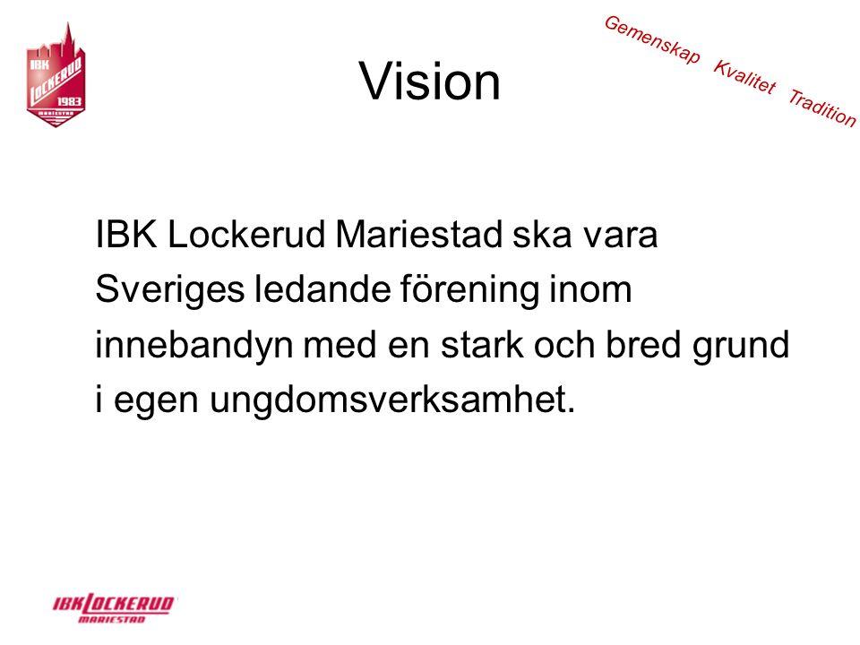Vision IBK Lockerud Mariestad ska vara Sveriges ledande förening inom innebandyn med en stark och bred grund i egen ungdomsverksamhet.