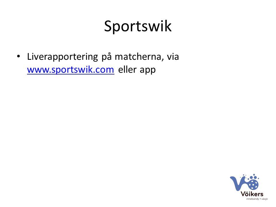 Sportswik Liverapportering på matcherna, via www.sportswik.com eller app www.sportswik.com