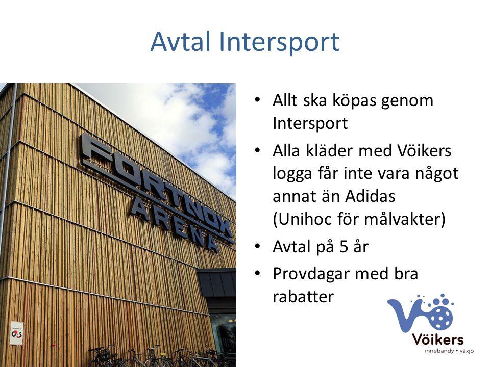 Avtal Intersport Allt ska köpas genom Intersport Alla kläder med Vöikers logga får inte vara något annat än Adidas (Unihoc för målvakter) Avtal på 5 år Provdagar med bra rabatter