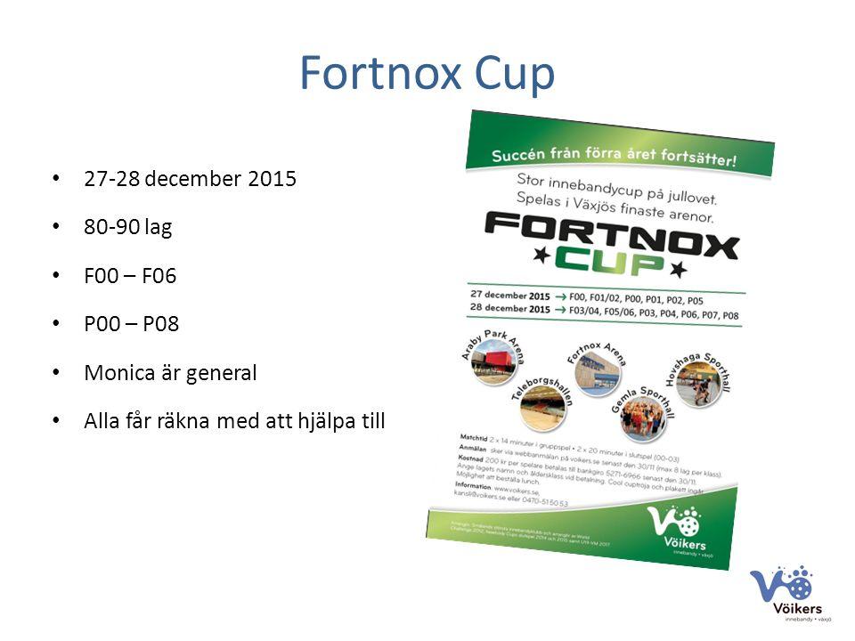 Fortnox Cup 27-28 december 2015 80-90 lag F00 – F06 P00 – P08 Monica är general Alla får räkna med att hjälpa till