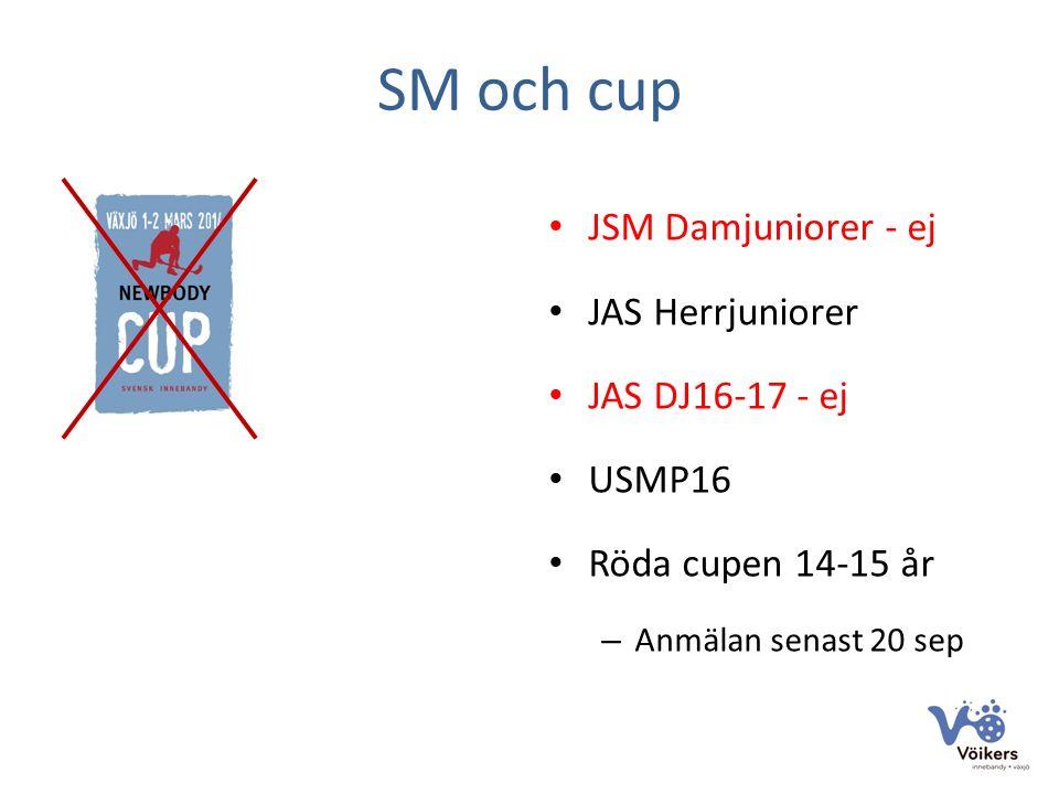 SM och cup JSM Damjuniorer - ej JAS Herrjuniorer JAS DJ16-17 - ej USMP16 Röda cupen 14-15 år – Anmälan senast 20 sep