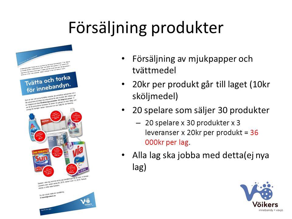 Försäljning produkter Försäljning av mjukpapper och tvättmedel 20kr per produkt går till laget (10kr sköljmedel) 20 spelare som säljer 30 produkter – 20 spelare x 30 produkter x 3 leveranser x 20kr per produkt = 36 000kr per lag.