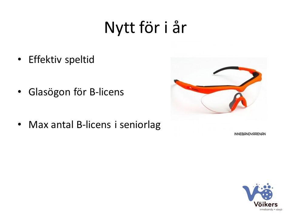 Nytt för i år Effektiv speltid Glasögon för B-licens Max antal B-licens i seniorlag