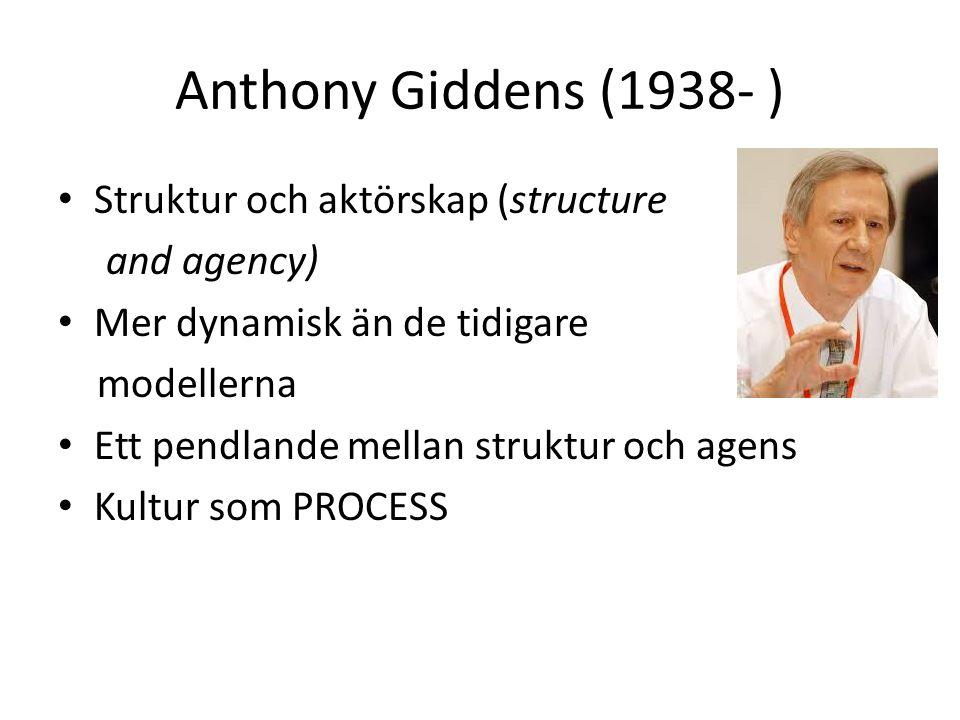 Anthony Giddens (1938- ) Struktur och aktörskap (structure and agency) Mer dynamisk än de tidigare modellerna Ett pendlande mellan struktur och agens Kultur som PROCESS