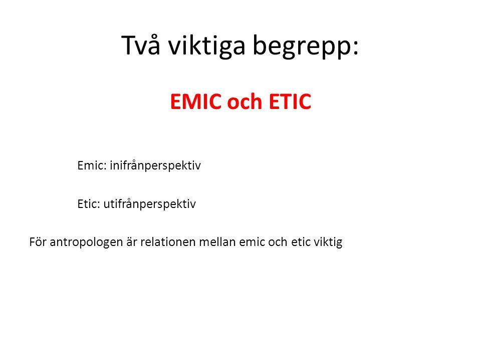 Två viktiga begrepp: EMIC och ETIC Emic: inifrånperspektiv Etic: utifrånperspektiv För antropologen är relationen mellan emic och etic viktig