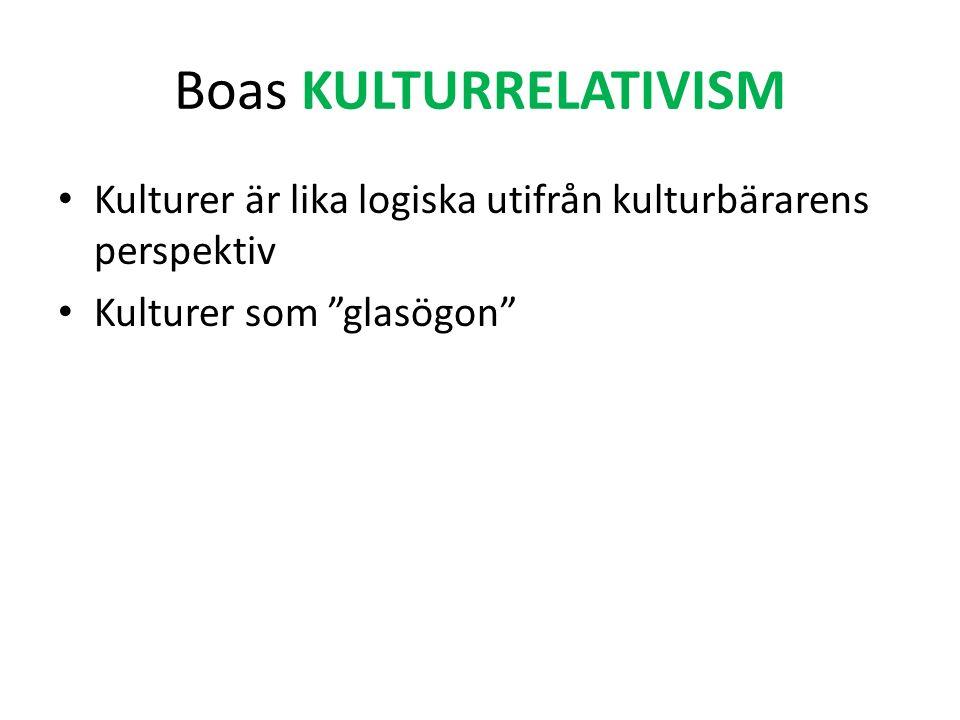 Boas KULTURRELATIVISM Kulturer är lika logiska utifrån kulturbärarens perspektiv Kulturer som glasögon