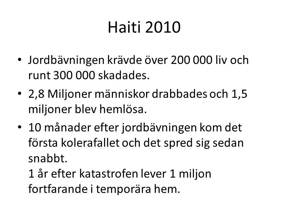 Haiti 2010 Jordbävningen krävde över 200 000 liv och runt 300 000 skadades.