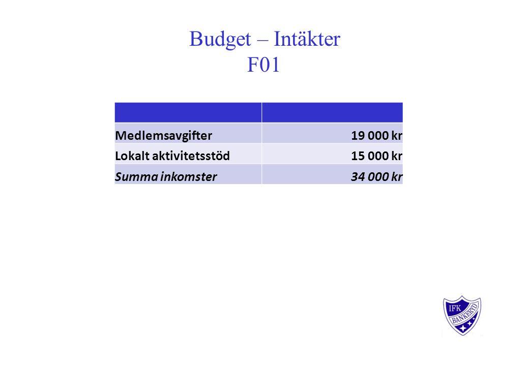Budget – Intäkter F01 Medlemsavgifter 19 000 kr Lokalt aktivitetsstöd 15 000 kr Summa inkomster 34 000 kr