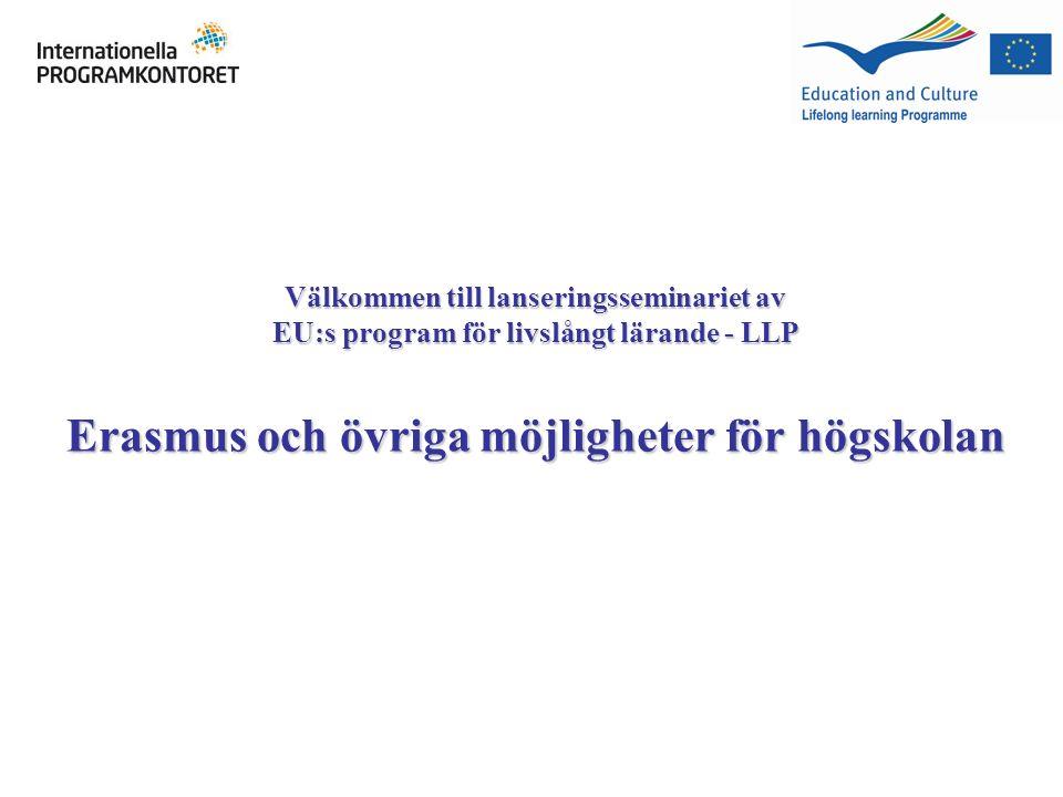 Välkommen till lanseringsseminariet av EU:s program för livslångt lärande - LLP Erasmus och övriga möjligheter för högskolan