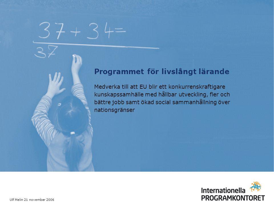 Ulf Melin 21 november 2006 Programmet för livslångt lärande Medverka till att EU blir ett konkurrenskraftigare kunskapssamhälle med hållbar utveckling, fler och bättre jobb samt ökad social sammanhållning över nationsgränser