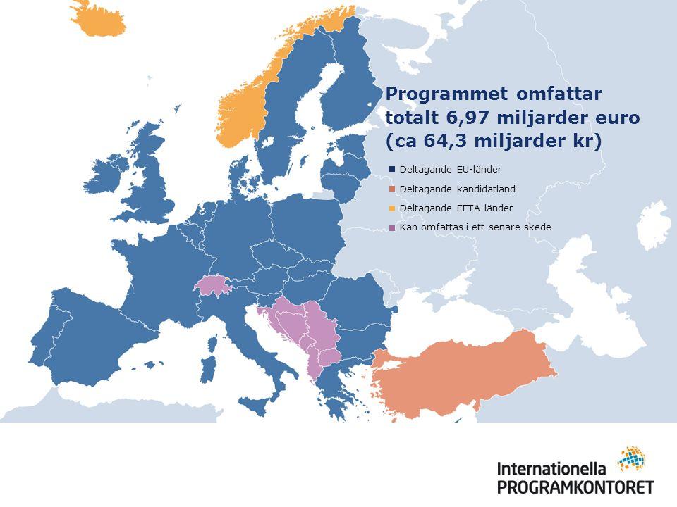 Programmet omfattar totalt 6,97 miljarder euro (ca 64,3 miljarder kr) Deltagande EU-länder Deltagande kandidatland Deltagande EFTA-länder Kan omfattas i ett senare skede