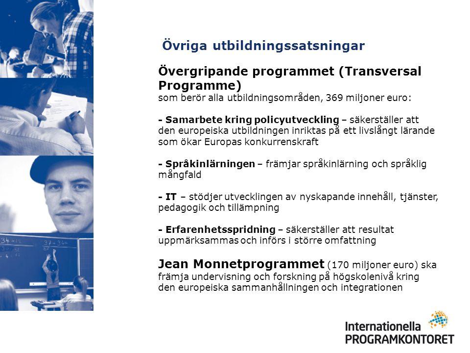 Övriga utbildningssatsningar Övergripande programmet (Transversal Programme) som berör alla utbildningsområden, 369 miljoner euro: - Samarbete kring policyutveckling – säkerställer att den europeiska utbildningen inriktas på ett livslångt lärande som ökar Europas konkurrenskraft - Språkinlärningen – främjar språkinlärning och språklig mångfald - IT – stödjer utvecklingen av nyskapande innehåll, tjänster, pedagogik och tillämpning - Erfarenhetsspridning – säkerställer att resultat uppmärksammas och införs i större omfattning Jean Monnetprogrammet (170 miljoner euro) ska främja undervisning och forskning på högskolenivå kring den europeiska sammanhållningen och integrationen