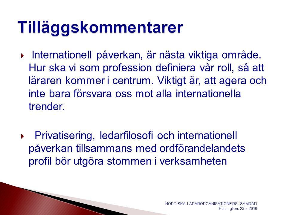  Internationell påverkan, är nästa viktiga område.