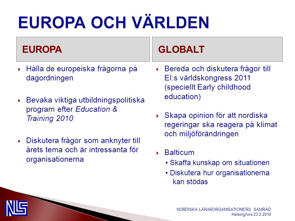 EUROPAGLOBALT  Hålla de europeiska frågorna på dagordningen  Bevaka viktiga utbildningspolitiska program efter Education & Training 2010  Diskutera frågor som anknyter till årets tema och är intressanta för organisationerna  Bereda och diskutera frågor till EI:s världskongress 2011 (speciellt Early childhood education)  Skapa opinion för att nordiska regeringar ska reagera på klimat och miljöförändringen  Balticum Skaffa kunskap om situationen Diskutera hur organisationerna kan stödas NORDISKA LÄRARORGANISATIONERS SAMRÅD Helsingfors 23.2.2010
