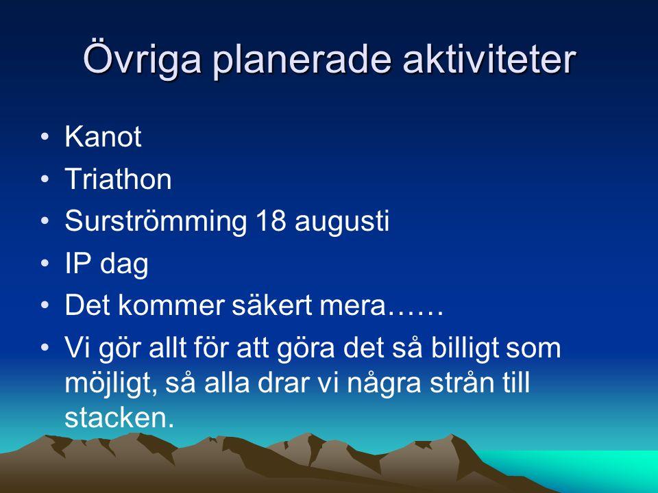 Övriga planerade aktiviteter Kanot Triathon Surströmming 18 augusti IP dag Det kommer säkert mera…… Vi gör allt för att göra det så billigt som möjligt, så alla drar vi några strån till stacken.