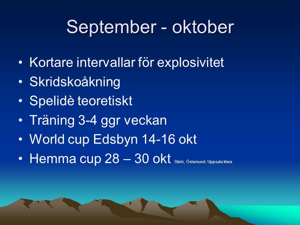September - oktober Kortare intervallar för explosivitet Skridskoåkning Spelidè teoretiskt Träning 3-4 ggr veckan World cup Edsbyn 14-16 okt Hemma cup 28 – 30 okt Skirö, Östersund, Uppsala klara