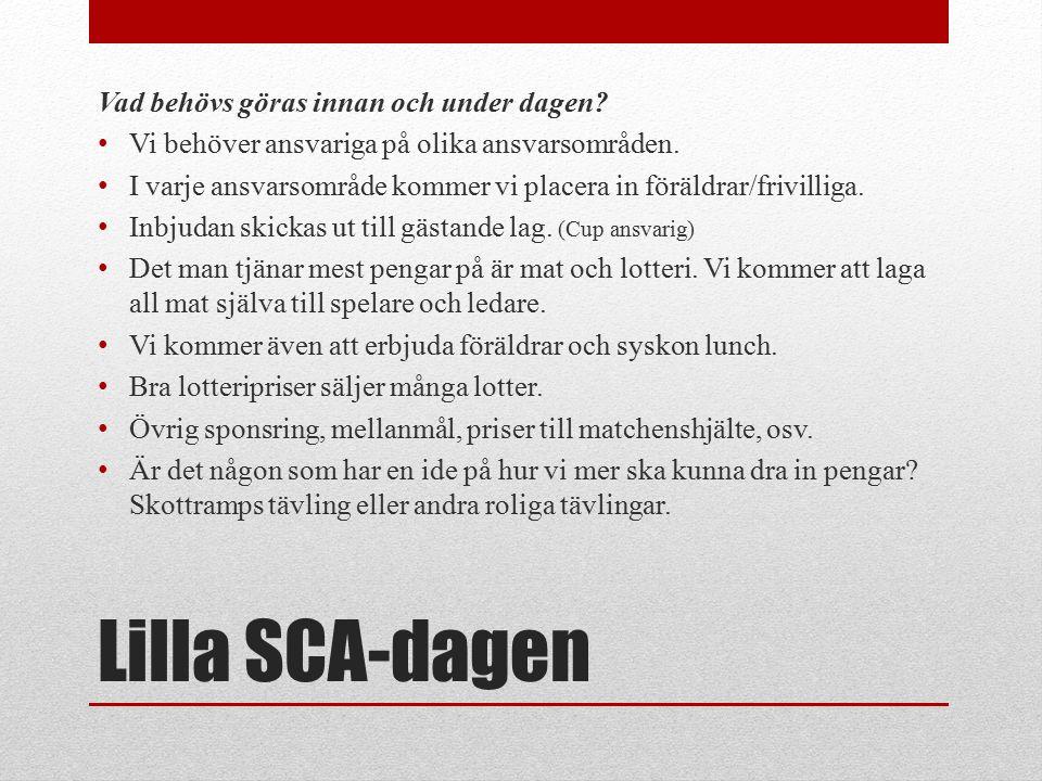 Lilla SCA-dagen Vad behövs göras innan och under dagen.