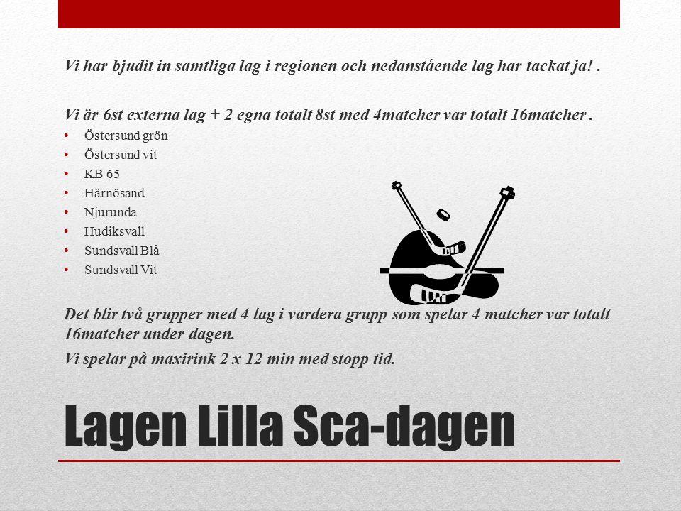 Lagen Lilla Sca-dagen Vi har bjudit in samtliga lag i regionen och nedanstående lag har tackat ja!.