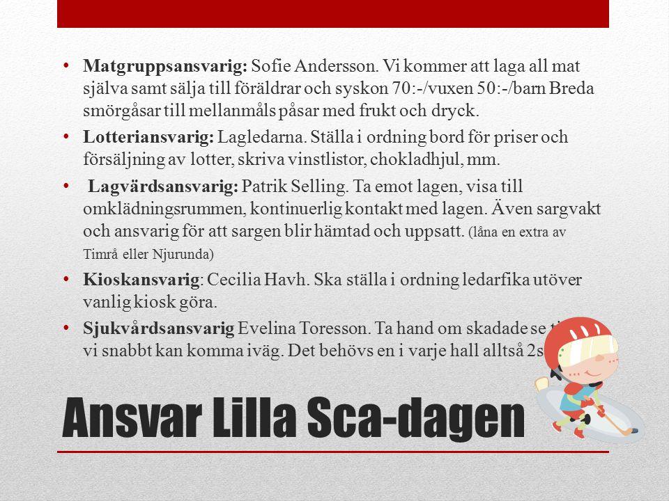 Ansvar Lilla Sca-dagen Matgruppsansvarig: Sofie Andersson.