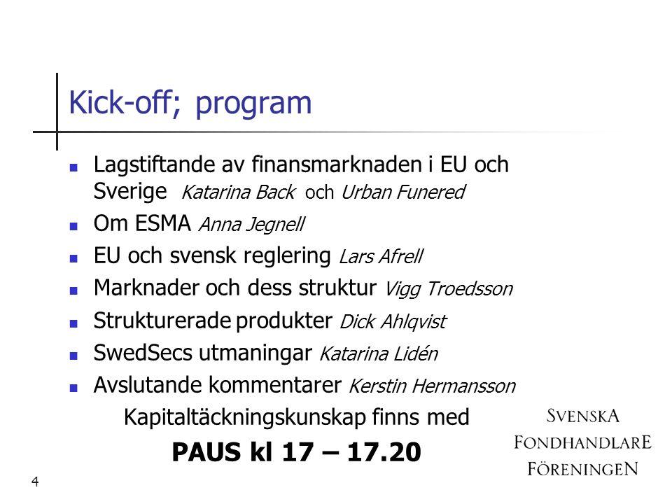 Kick-off; program Lagstiftande av finansmarknaden i EU och Sverige Katarina Back och Urban Funered Om ESMA Anna Jegnell EU och svensk reglering Lars A
