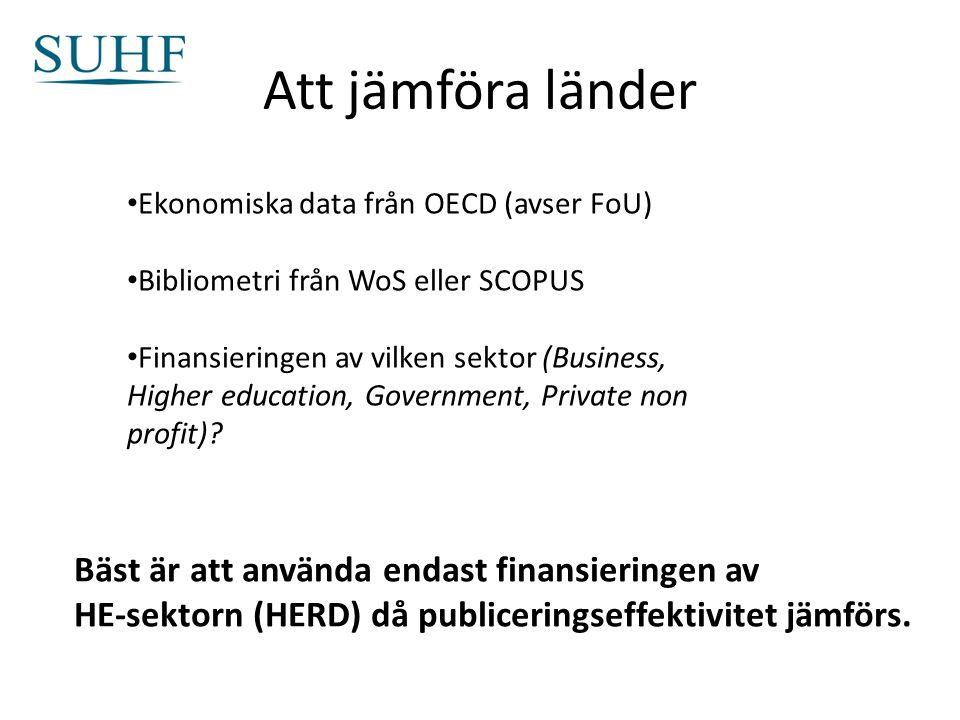 Att jämföra länder Ekonomiska data från OECD (avser FoU) Bibliometri från WoS eller SCOPUS Finansieringen av vilken sektor (Business, Higher education, Government, Private non profit).