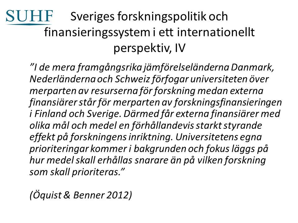Sveriges forskningspolitik och finansieringssystem i ett internationellt perspektiv, IV I de mera framgångsrika jämförelseländerna Danmark, Nederländerna och Schweiz förfogar universiteten över merparten av resurserna för forskning medan externa finansiärer står för merparten av forskningsfinansieringen i Finland och Sverige.